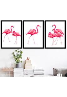 Kit 3 Quadros Com Moldura Flamingos