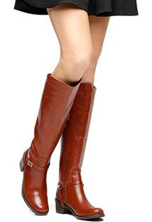 Bota Couro Over The Knee Santa Lolla Fivela Feminina - Feminino-Caramelo