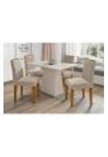 Conjunto De Mesa De Jantar Com Tampo De Vidro Jasmin E 4 Cadeiras Giovana I Animalle Off White E Cinza