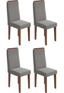 Conjunto Com 4 Cadeiras Dafne Imbuia E Cinza