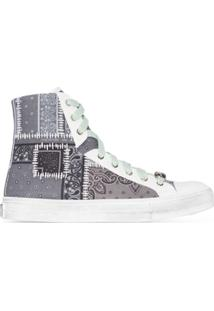 Amiri Bandana Patchwork Canvas High Top Sneakers - Branco