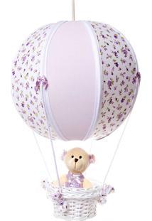 Lustre Balão Bolinha Ursa Quarto Bebê Infantil Menina Potinho De Mel Lilás - Kanui