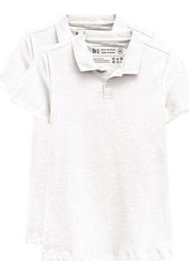 Kit De 2 Camisas Polo Femininas Branco
