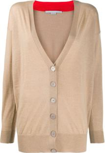 Stella Mccartney V-Neck Contrasting Collar Cardigan - Neutro