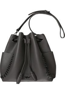 Bucket Bag Com Bolsos Cinza