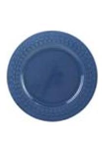 Prato De Sobremesa Wolff Grace Em Porcelana 19,5Cm Rojemac Azul