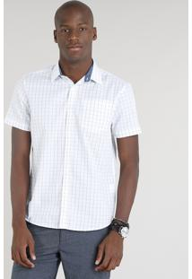 Camisa Masculina Comfort Xadrez Com Bolso Manga Curta Branca