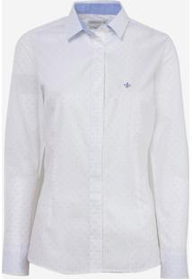 Camisa Dudalina Manga Longa Tricoline Fio Tinto Poa Feminina (Estampado, 42)