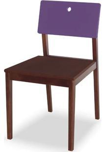 Cadeira Flip Cor Cacau Com Encosto Roxo - 30840