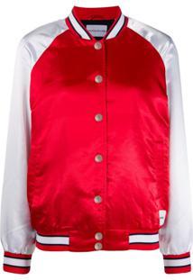 Calvin Klein Jeans Jaqueta Bomber Bicolor - Vermelho