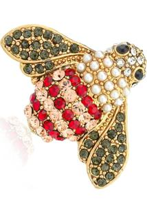 Broche Le Diamond Abelha Com Cristais E Pérolas Dourado - Kanui