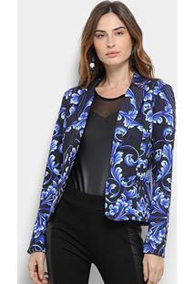 Blazer Road Mel Floral Feminino - Feminino-Preto+Azul