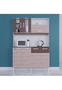 Cozinha Compacta 7 Portas 2 Gavetas Ellen 6281 Amêndoa/Cappucino - Poquema