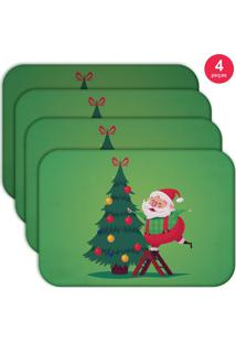 Jogo Americano Love Decor Wevans Cute Noel Green Kit Com 4 Pçs