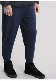 Calça Masculina Jogger Em Moletom Com Textura E Zíper Azul Marinho
