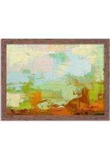 Quadro Decorativo Abstrato Moderno Verde Pincel Madeira - Médio