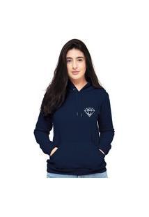 Blusa Moletom Feminino Azul Marinho Mini Diamante