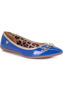 Sapatilha Em Couro Com Cadeado- Azul Royal & Douradacarmen Steffens