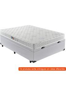 Cama Box Premium Baú Com Colchão Casal Quality D28 Corino Branco