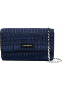 Emporio Armani Bolsa Tiracolo De Tweed Com Efeito De Brilho - Azul