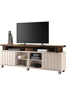 Rack Bancada Para Tv Até 70 Pol. 1.8 Briz H01 Off White/Deck - Mpozena
