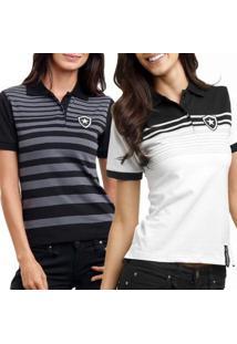 Kit 2 Camisas Polo Feminino Botafogo Oficial Fio Tinto - Feminino