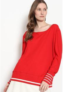 Blusa Canelada & Listrada - Vermelha & Branca - Malwmalwee