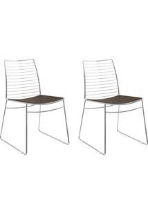 Kit 2 Cadeiras 1712 Cacau/Cromado - Carraro Móveis