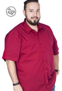 Camisa Plus Size Bigshirts Manga Curta Maquinetada - Rosa Escuro