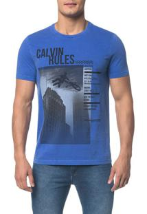 Camiseta Ckj Mc Calvin Rules - Azul Médio - Pp