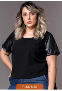 Blusa Cropped Black Plus Size Preto