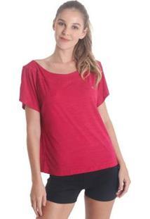 Blusa Líquido Gola Canoa Feminina - Feminino-Rosa Escuro