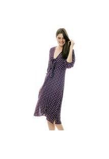 Vestido 101 Resort Wear Midi Viscose Com Nó No Decote E Mangas Bufantes Estampada Vinho