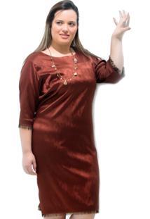 Vestido Vickttoria Vick Cetim Jacquard Costa Marrom Plus Size