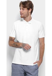 Camisa Polo Reserva Piquet Básica Masculina - Masculino-Branco