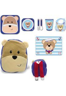 Kit Alimentação + Babador + Jogo Americano + Mochila - Urso - Unik Toys