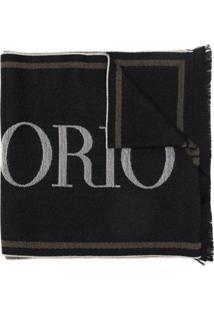Emporio Armani Echarpe Com Estampa De Logo - Preto