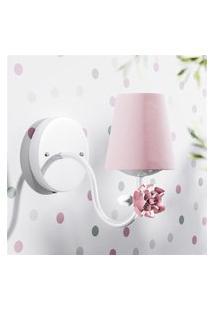 Luminária Arandela Provençal Com Flor Rosa 1L Gráo De Gente Branco