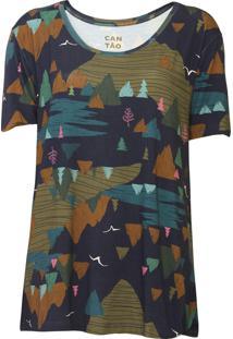 Camiseta Cantão Montanha Azul-Marinho/Verde