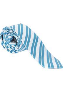 Gravata Slim Fit Acetinada - Azul & Branca - 6X77Cm