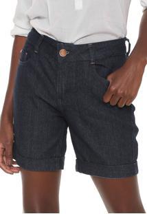 Bermuda Jeans Lunender Reta Lisa Azul