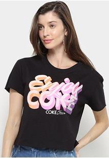 Camiseta Coca Cola Enjoy Coke Feminina - Feminino-Preto