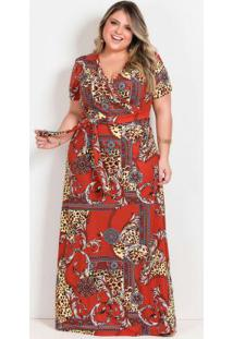 Vestido Longo Arabescos Com Transpasse Plus Size