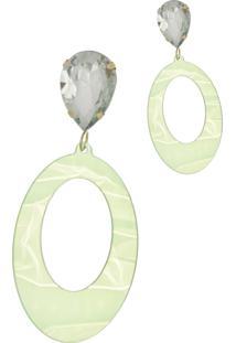 Brinco Le Diamond Acrílico Geométrico Base Cristal Verde - Kanui