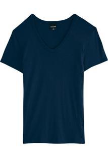 Blusa Azul Marinho Canelada Decote V