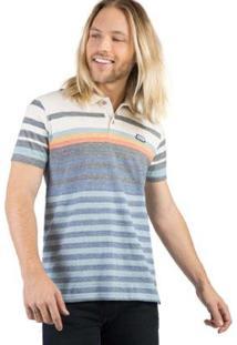 Camisa Polo Listrada Taco Masculina - Masculino-Off White
