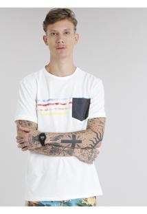 Camiseta Masculina Com Bolso E Listras Manga Curta Gola Careca Off White