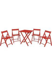 Conjunto Mesa E 4 Cadeiras Dobráveis Aconchego Tramontina Vermelho