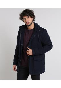 Casaco Masculino Acolchoado Com Capuz E Bolsos Gola Alta Azul Marinho