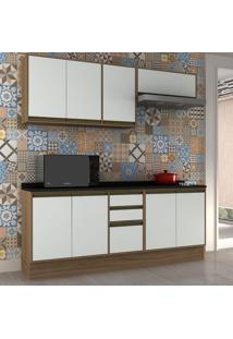 Cozinha Compacta Safira Ii 8 Pt 3 Gv Branca E Avelã